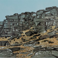 Stanage Tower face colour Linocut, Katherine Rhodes