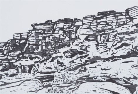 Stanage Tower FaceTonal Linocut Katherine Rhodes