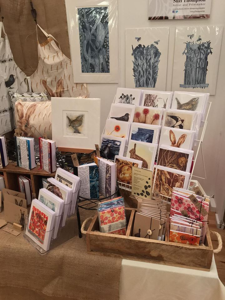 Suzi Thompson's work at the Freshly Pressed Print Fair, Barnsley, 2017