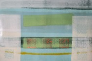 Composition with 3 gold squares and a yellow line - Trevor Pollard