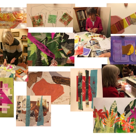 shared practice group collaging prints